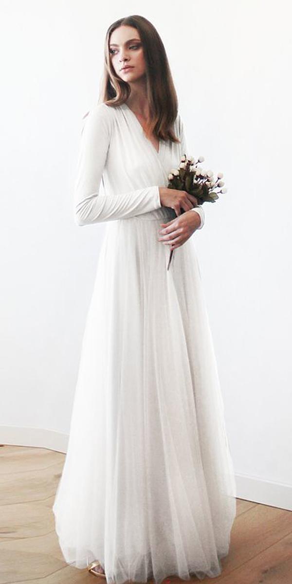 modest wedding dresses with sleeves a line v neckline simple blush fashion