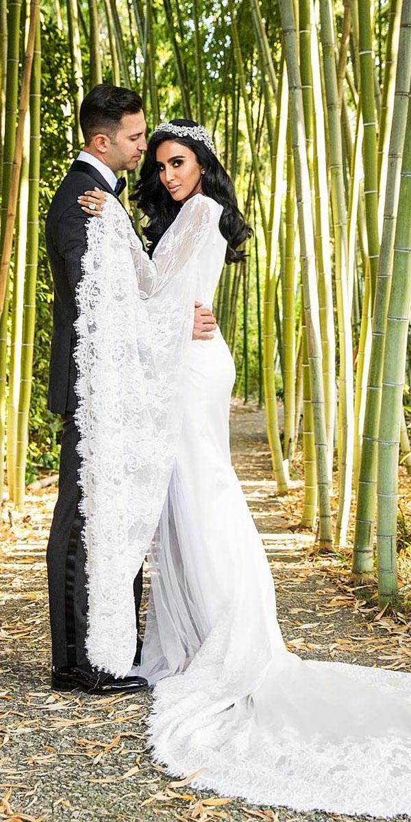 modest wedding dresses with sleeves lace embellishment with train boho duke images