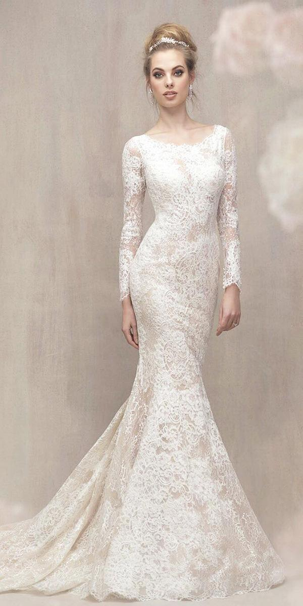modest wedding dresses with sleeves mermaid full lace embellishment allure bridals