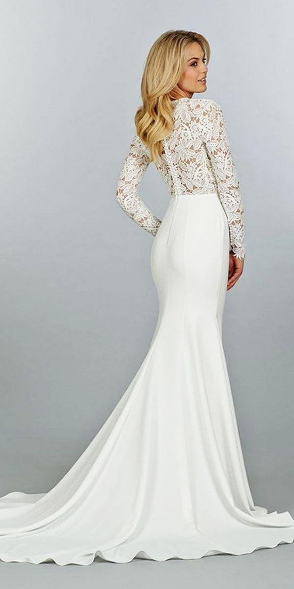 modest wedding dresses with sleeves mermaid lace top satin skirt confetti day dreams
