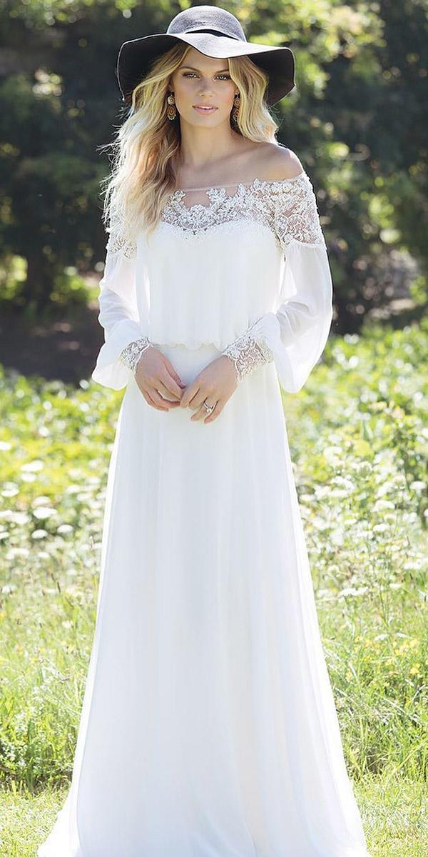 modest wedding dresses with sleeves sheath boho lace lillia nwest