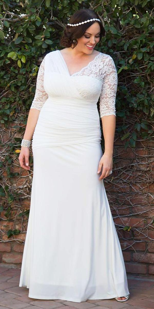 modest wedding dresses with sleeves sheath lace plus size kiyonna