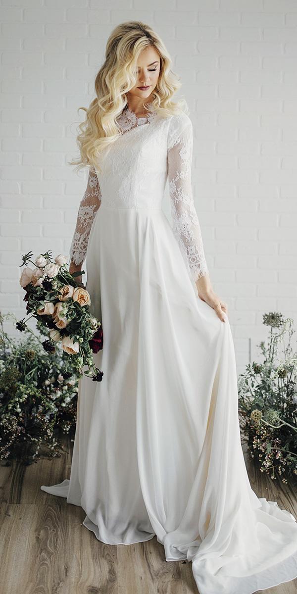 modest wedding dresses with sleeves sheath lace top elegant elizabeth cooper