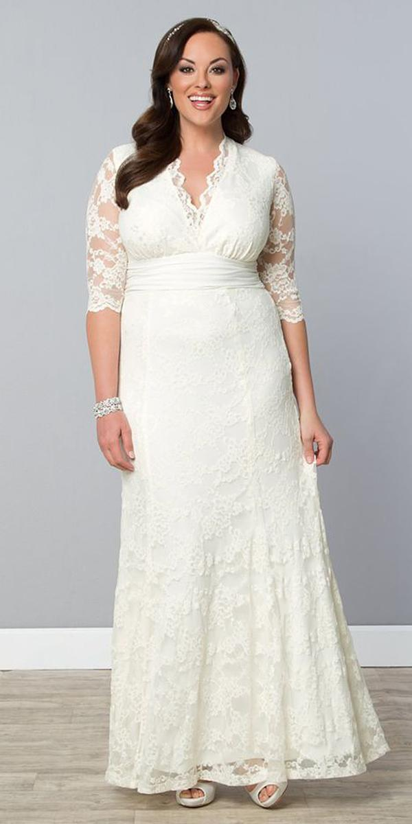 modest wedding dresses with sleeves three quote sheath plus size kiyonna