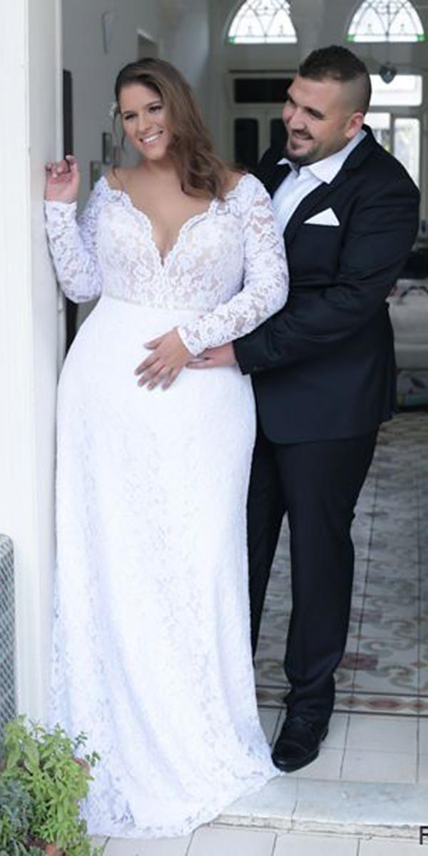 modest wedding dresse swith sleeves v neckline lace plus size studio levana