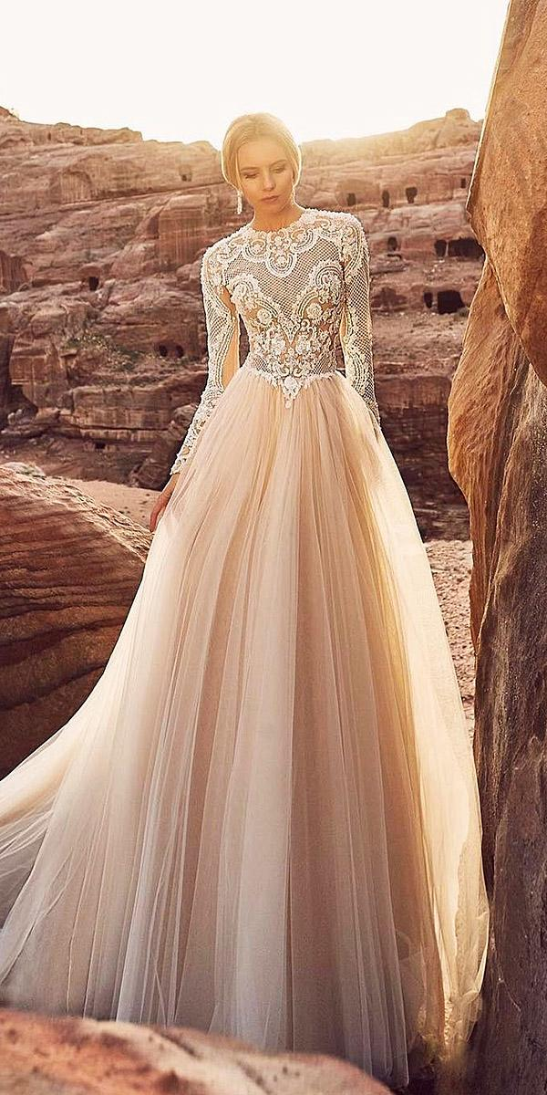 oksana mukha 2018 wedding dresses a line lace top with long sleeves blush