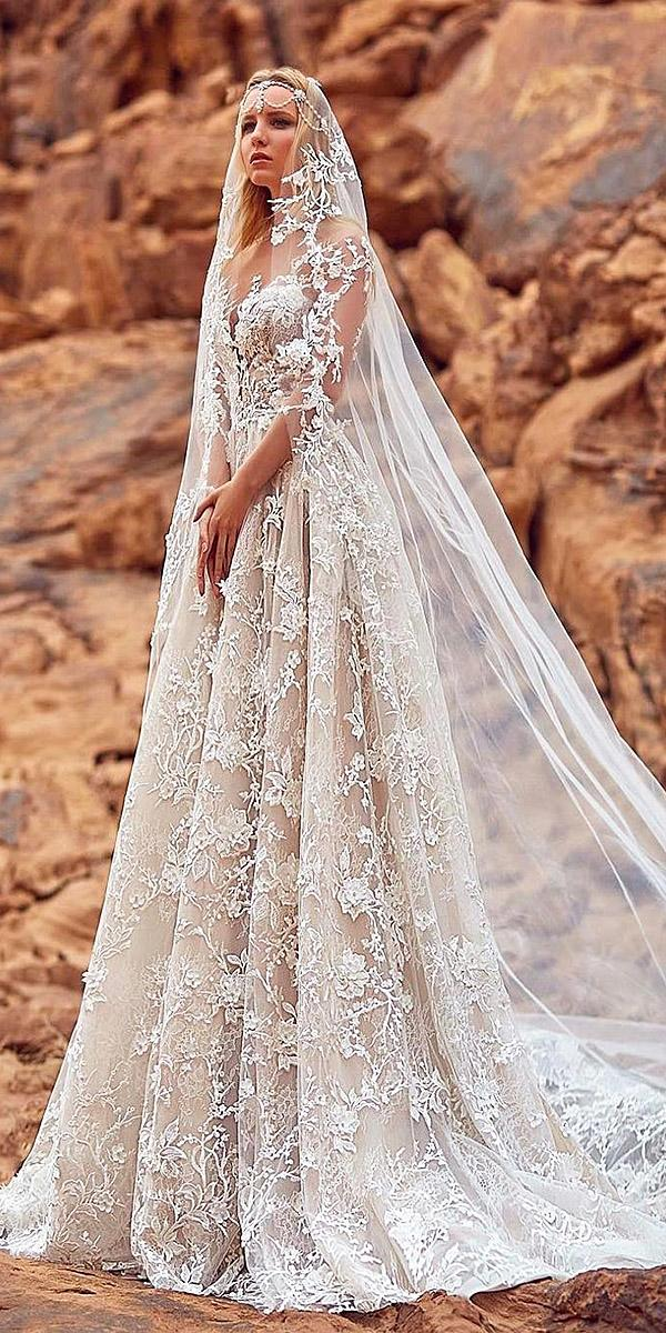 oksana mukha 2018 wedding dresses a line sweetheart floral appliques sleeveless