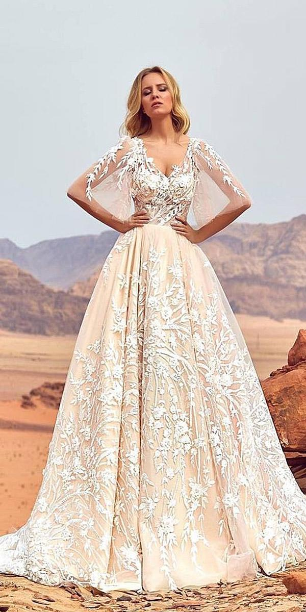 oksana mukha 2018 wedding dresses a line sweetheart tatto effect floral appliques blush skirt