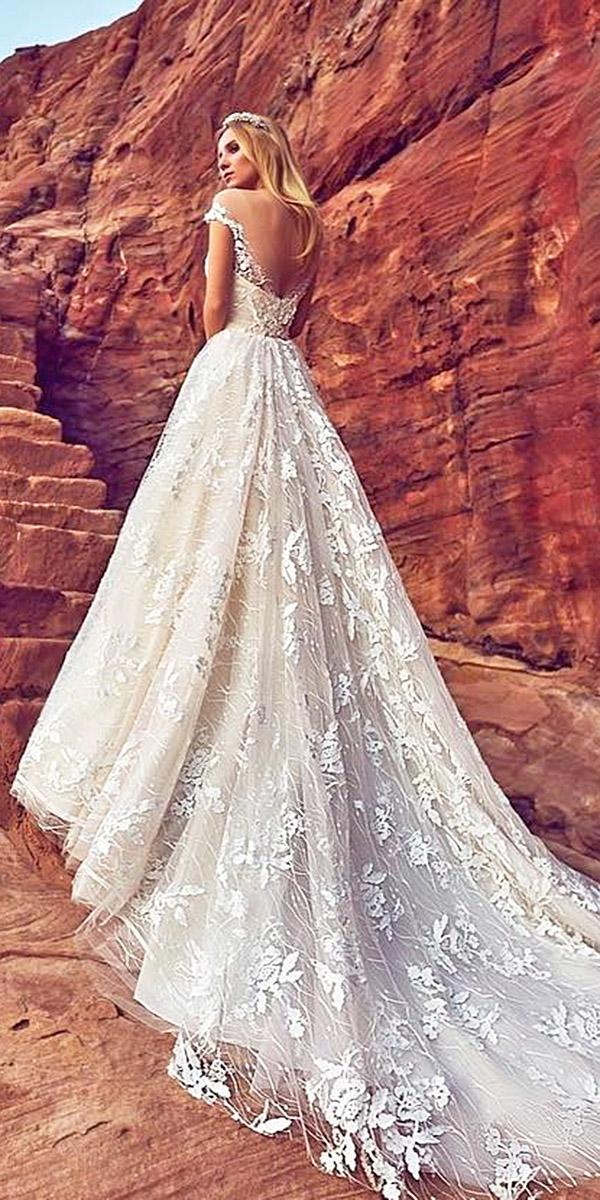 oksana mukha 2018 wedding dresses a line v back off the shoulder floral appliques