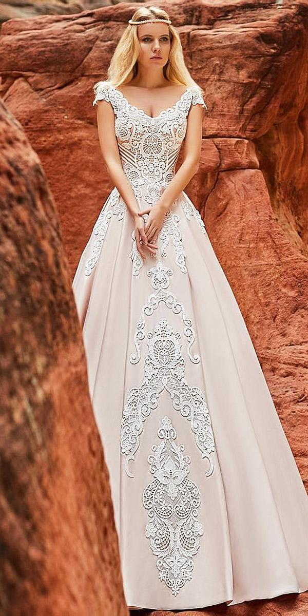 oksana mukha 2018 wedding dresses a line with cap sleeves v neckline lace embellishment