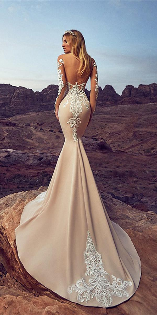 oksana mukha 2018 wedding dresses mermaid low back with illusion tatto sleeves lace