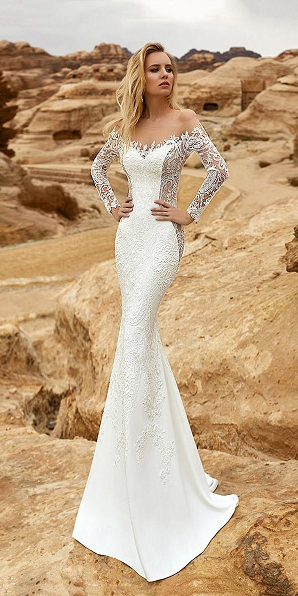 oksana mukha 2018 wedding dresses mermaid sweetheart with sleeves lace embellishment