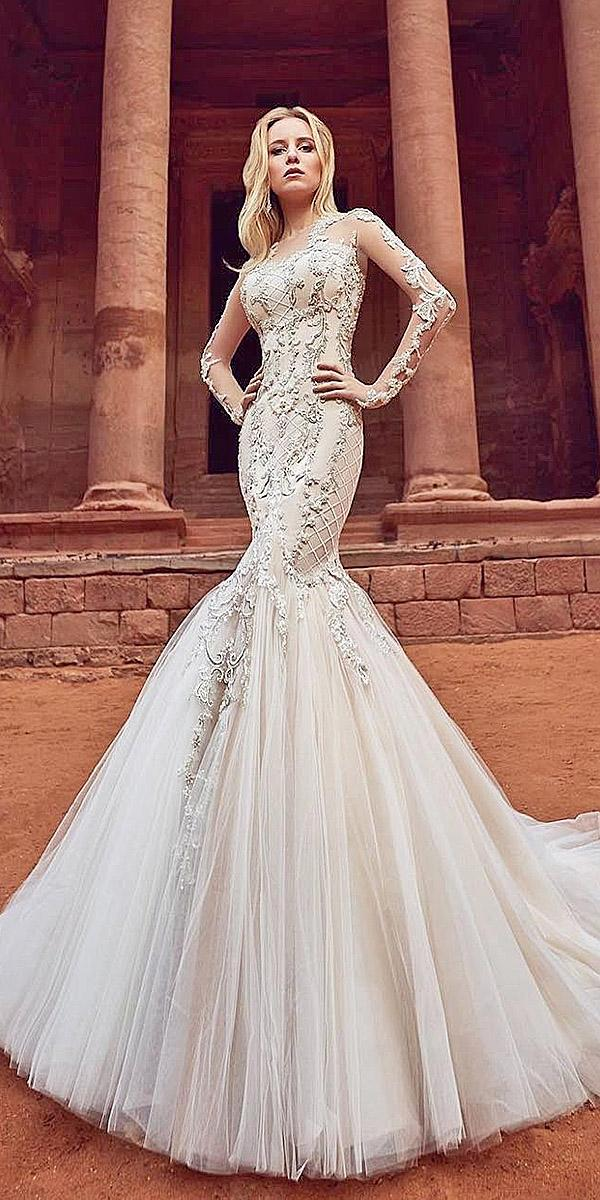 oksana mukha 2018 wedding dresses mermaid with illusion sleeves tatto effect lace embellishment