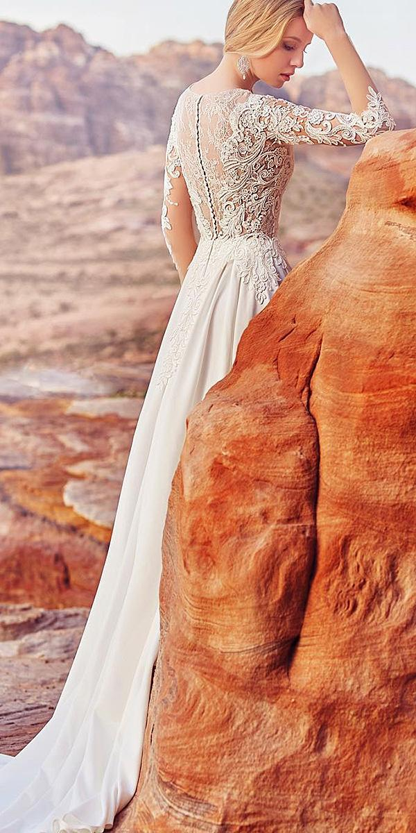 oksana mukha 2018 wedding dresses sheath with sleeves lace backless