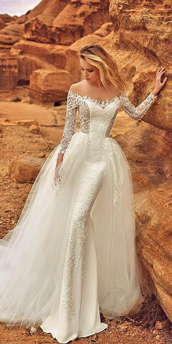 oksana mukha 2018 wedding dresses with sleeves full lace overskirt