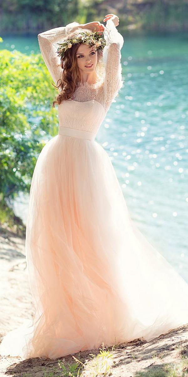 papilio wedding dresses a line semi sweetheart with sleeves pink colored