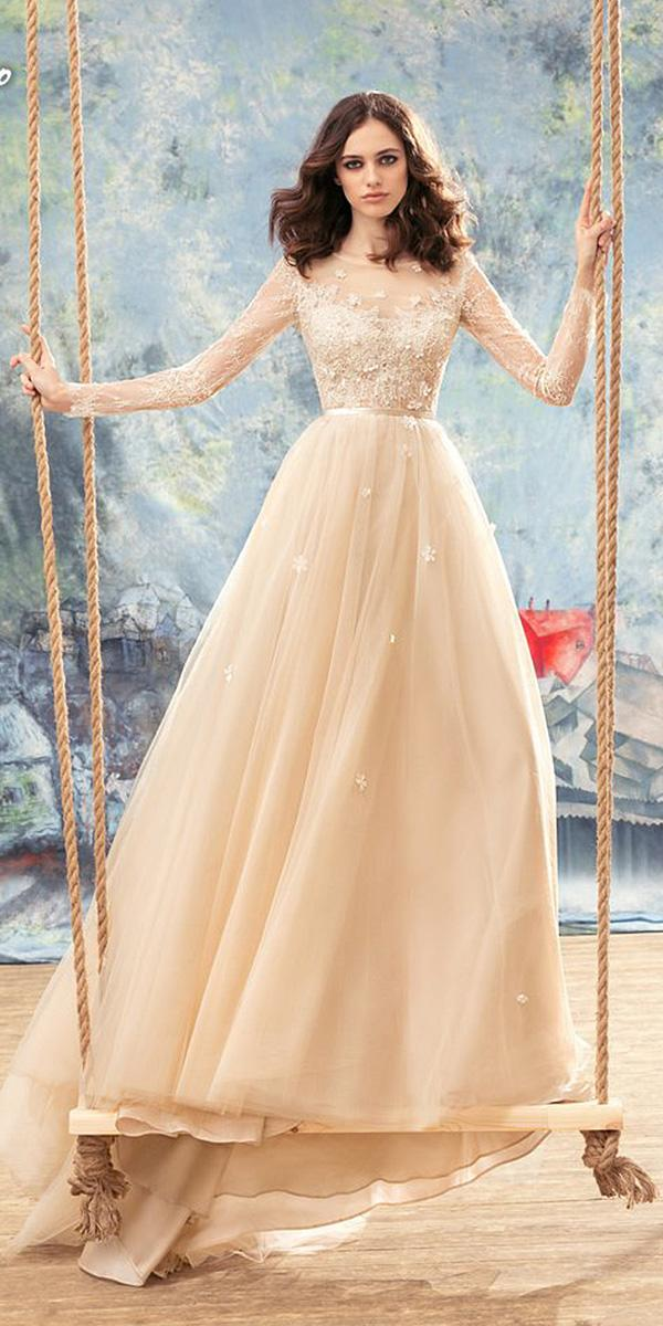 papilio wedding dresses a line with long lace sleeves floral blush