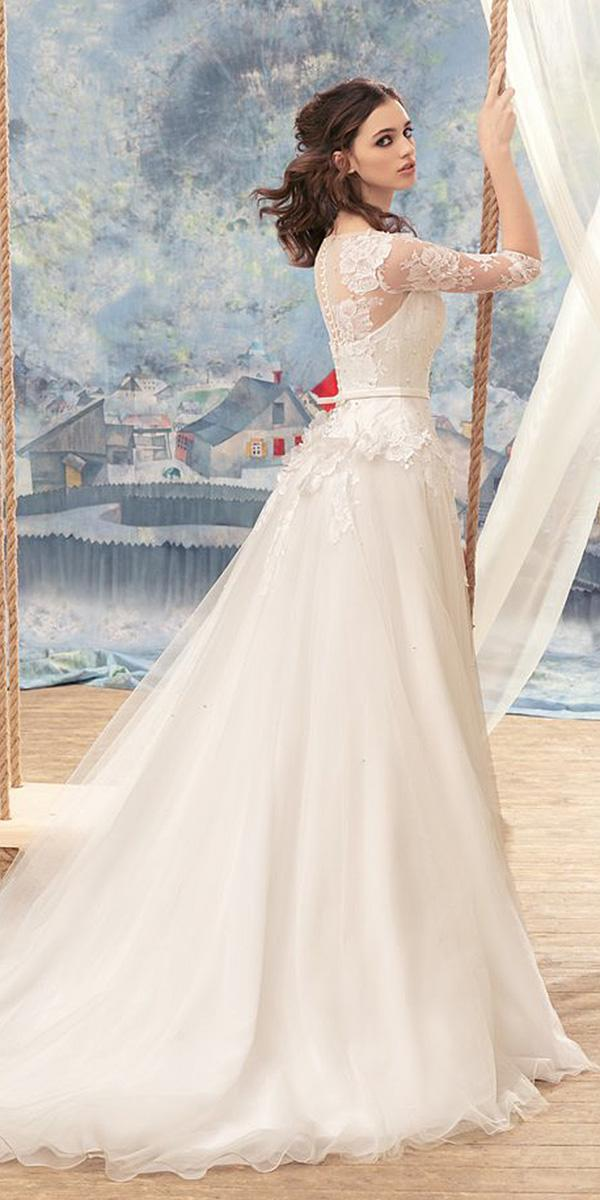 papilio wedding dresses a line with sleeves lace floral appliques 2017