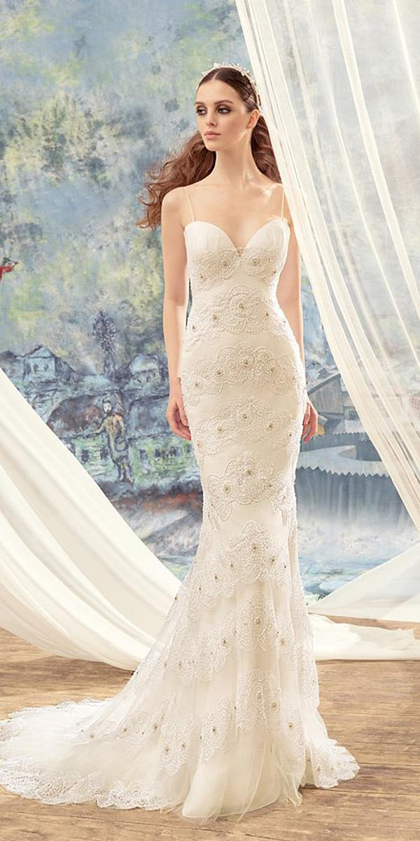 papilio wedding dresses mermaid with spaghetti staps sweetheart floral embellishment