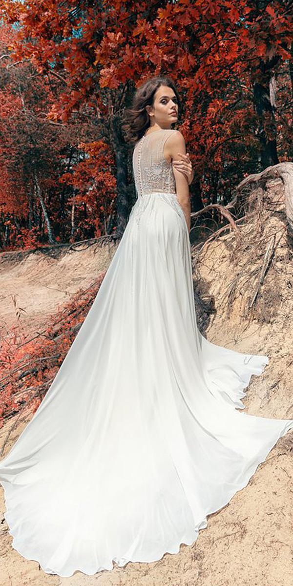 papilio wedding dresses sheath lace back satin skirt 2017