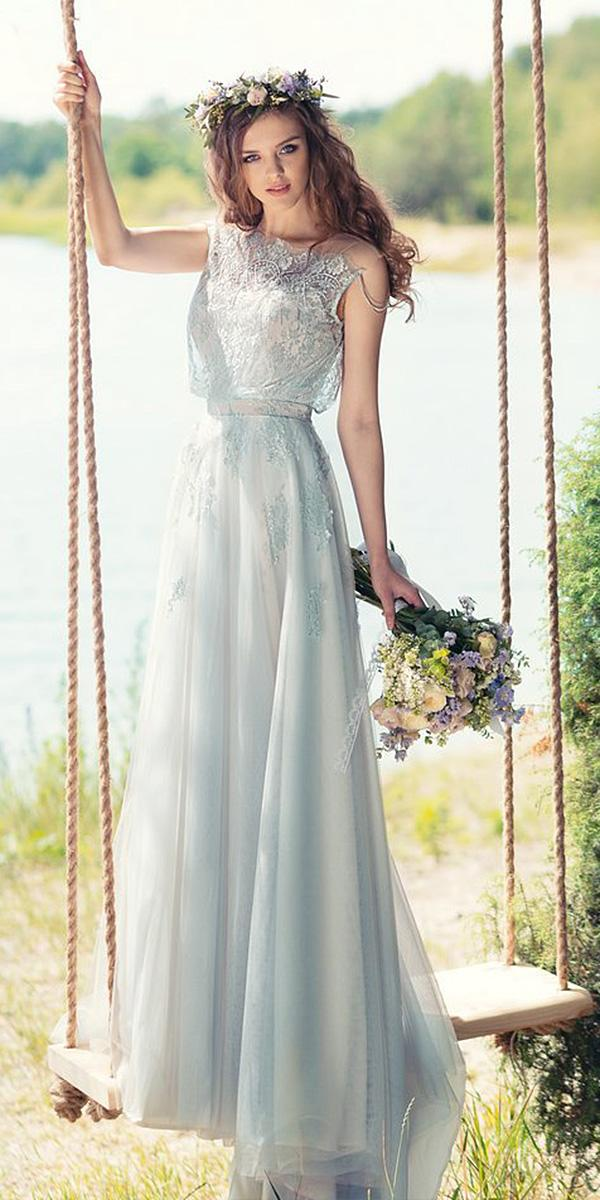 papilio wedding dresses sheath lace embellishment sleeveless blue colored