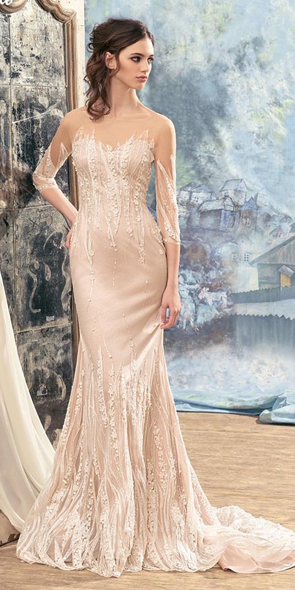 papilio wedding dresses sheath with illusion sleeves floral embellishment blush