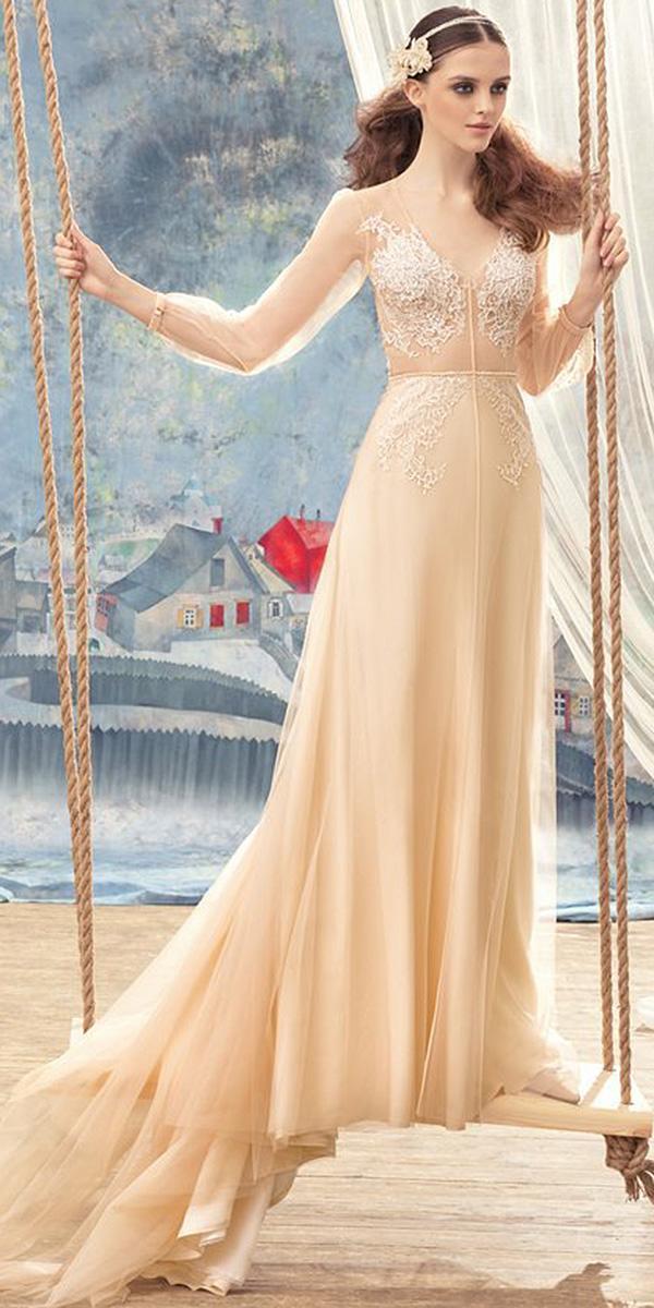 papilio wedding dresses sheath with illusion sleeves lace blush