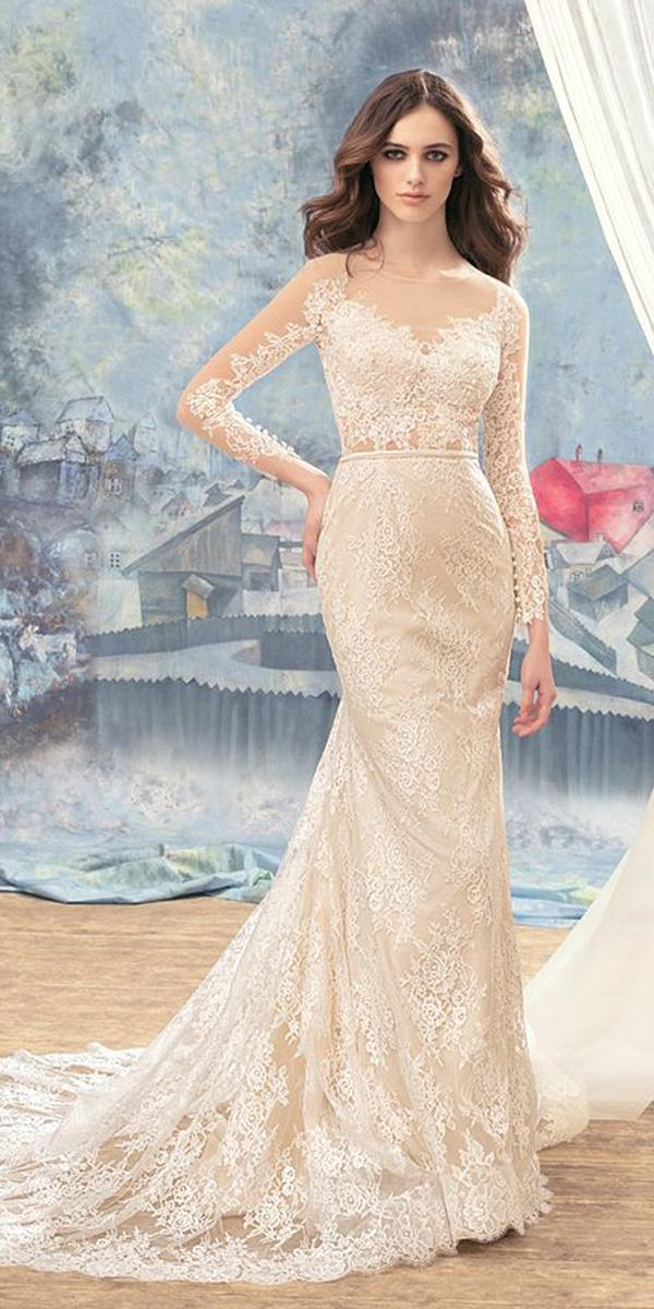 papilio wedding dresses sheath with long sleeves full lace 2017