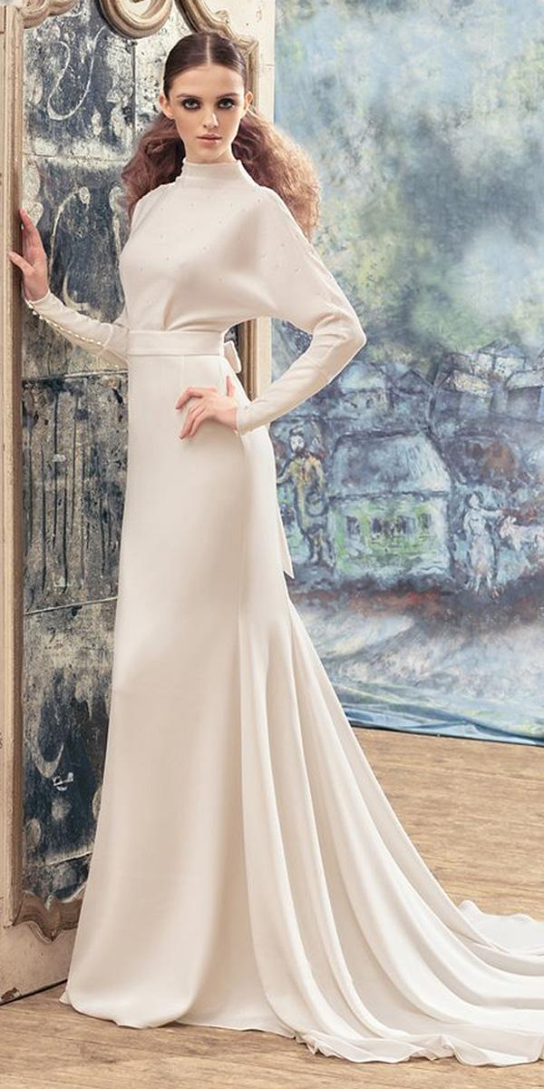 papilio wedding dresses with long sleeves high neck simple