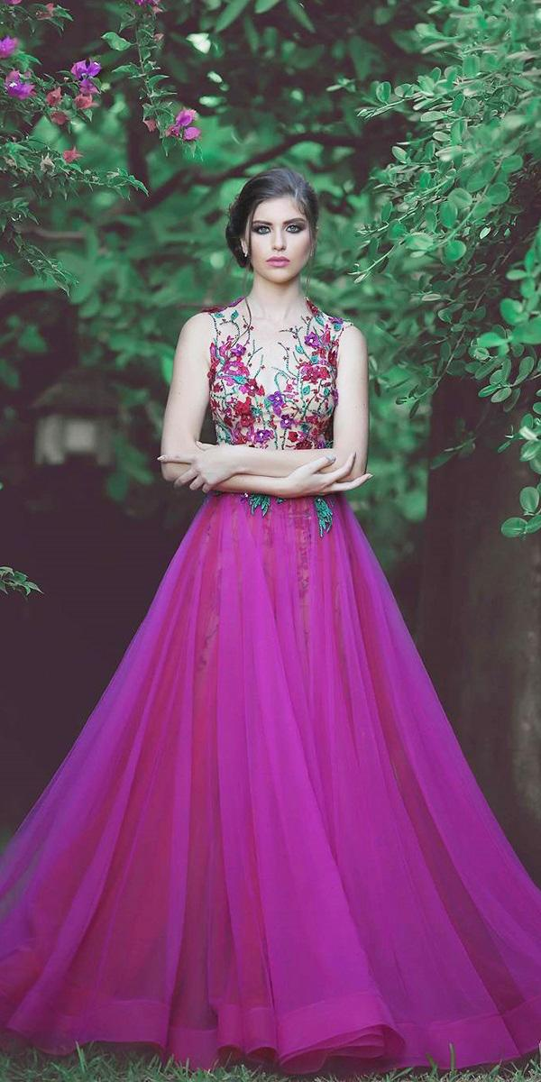 purple wedding dresses a line floral neckline sleveless younes photography