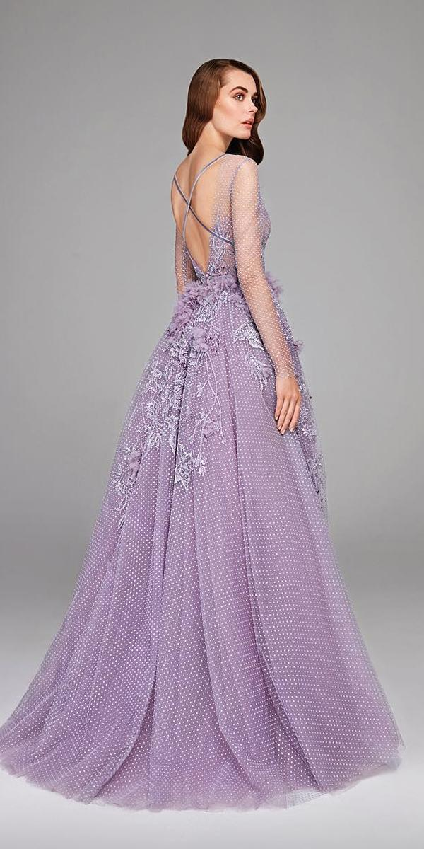 purple wedding dresses a line x cross back with 3d floral 2019 hamdaal fahim