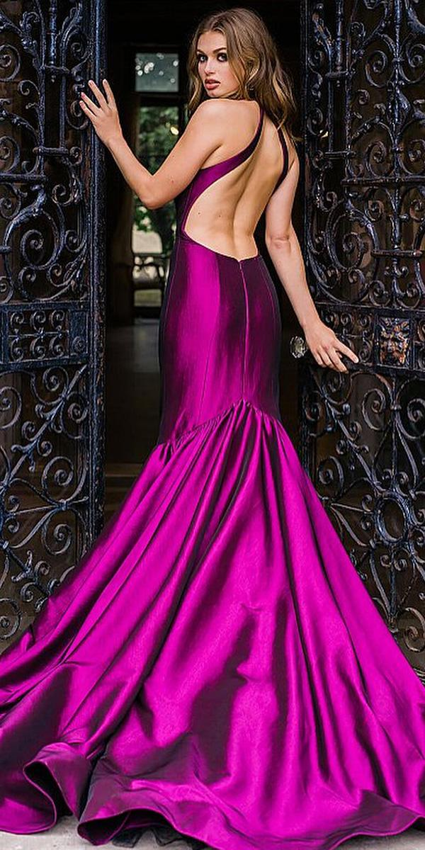 purple wedding dresses mermaid low back simple jovani fashions