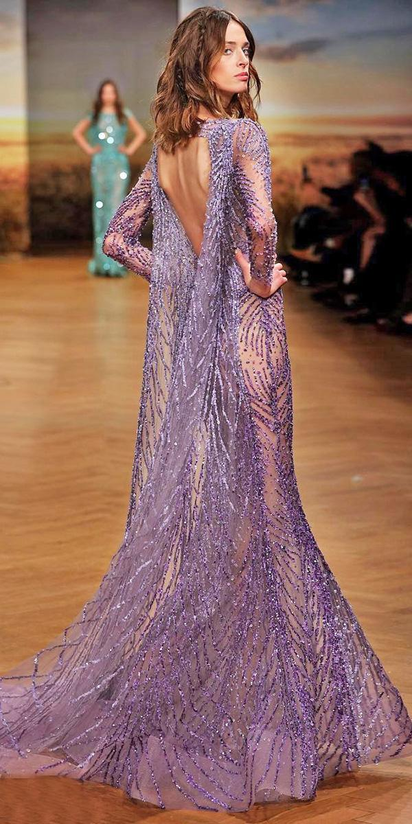 purple wedding dresses with long sleeves open back sequins ziad nakad