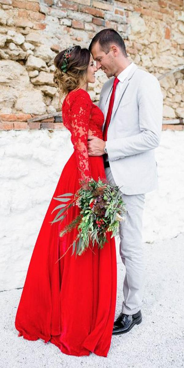 red wedding dresses a line with long sleeeves lace top eva poleschinski