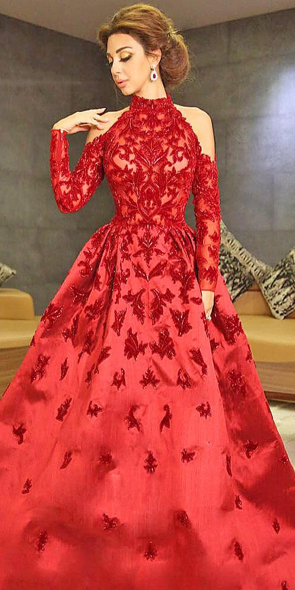 15 your lovely red wedding dresses wedding dresses guide red wedding dresses a line with sleeves high neck lace embellishment ramikadi junglespirit Images