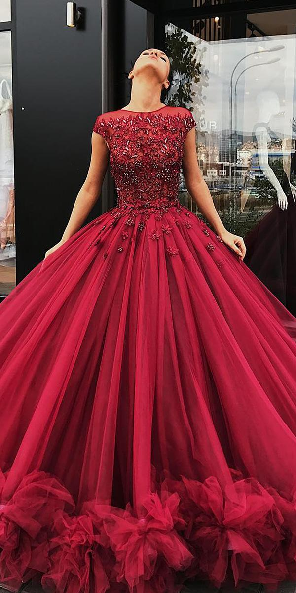 red wedding dresses ball gown with cap sleeves floral appliques liastublla official
