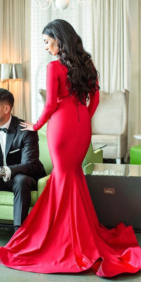 red wedding dresses mermaid with long sleeves simple duke images