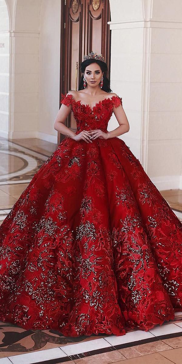 red wedding dresses princess off the shoulder lace floral appliques said mhamad photography