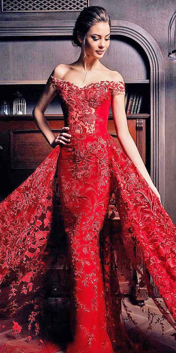 red wedding dresses sweetheart off the shoulder floral appliques oksana mukha