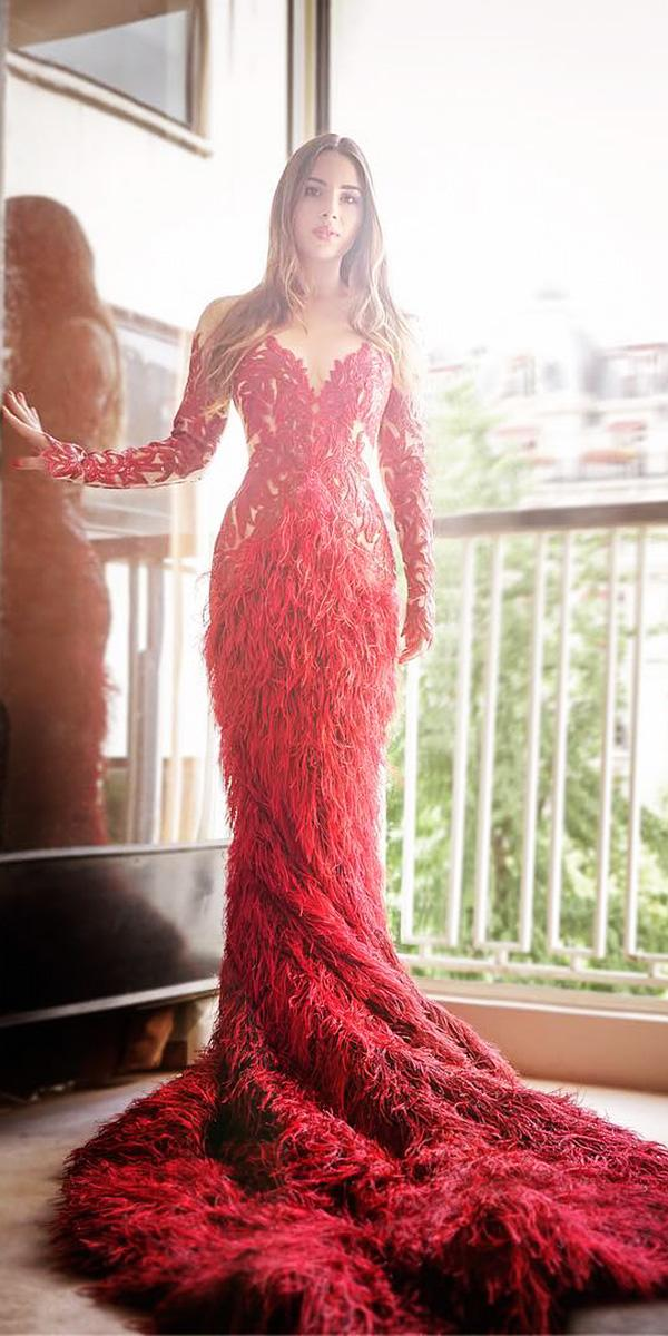 red wedding dresses swetheart with long sleeves floral embellishment tony ward couture