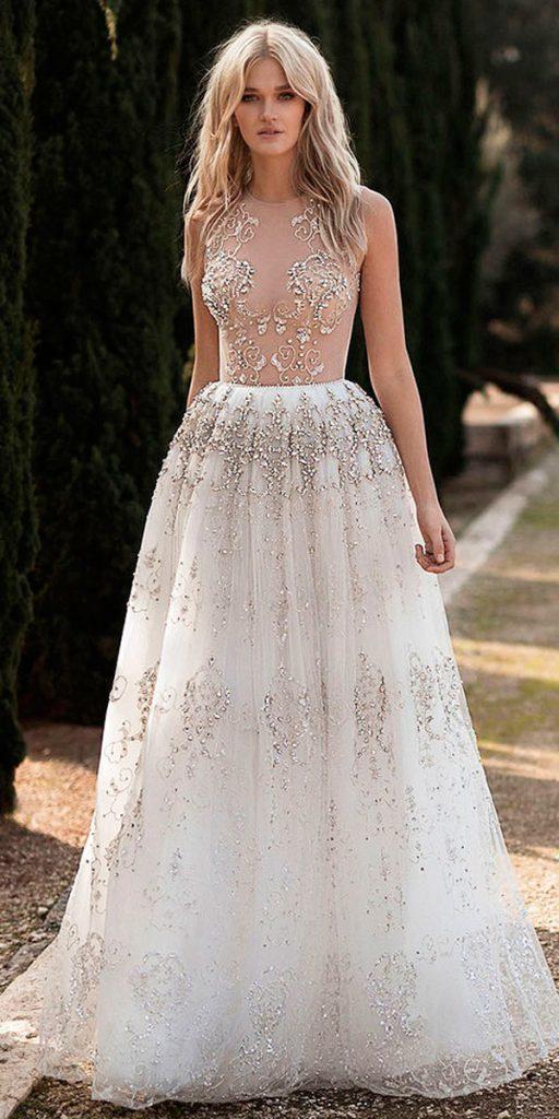rustic wedding dresses a line high neckline sleeveless sparkle idan cohen official