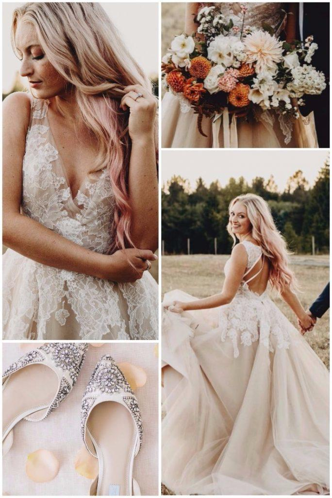 rustic wedding dresses ball gown lace v necklne with straps blush noelle johnsun