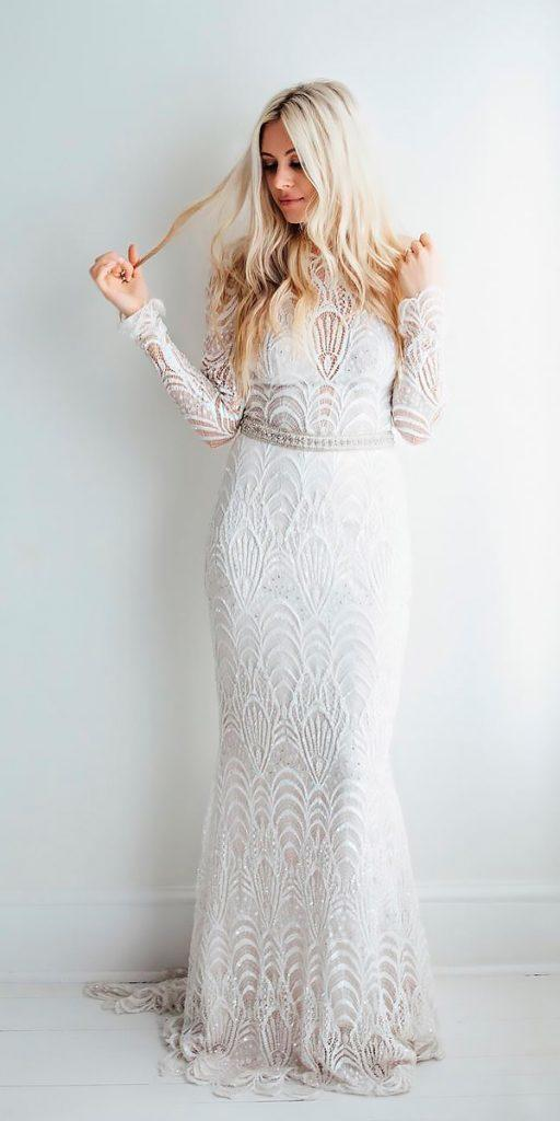 rustic wedding dresses lace vintage long sleeves high neckline sheath lihi hod