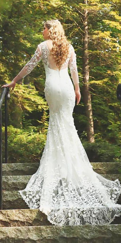 rustic wedding dresses sheath lace long sleeves open back kenny kim
