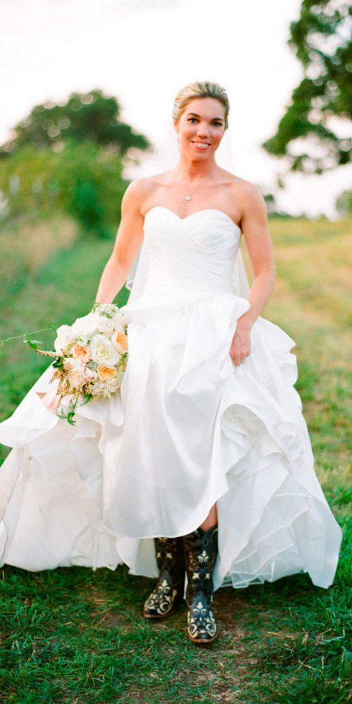 rustic wedding dresses with boots a line strapless sweetheart neckline with ruffled skirt white loft studio