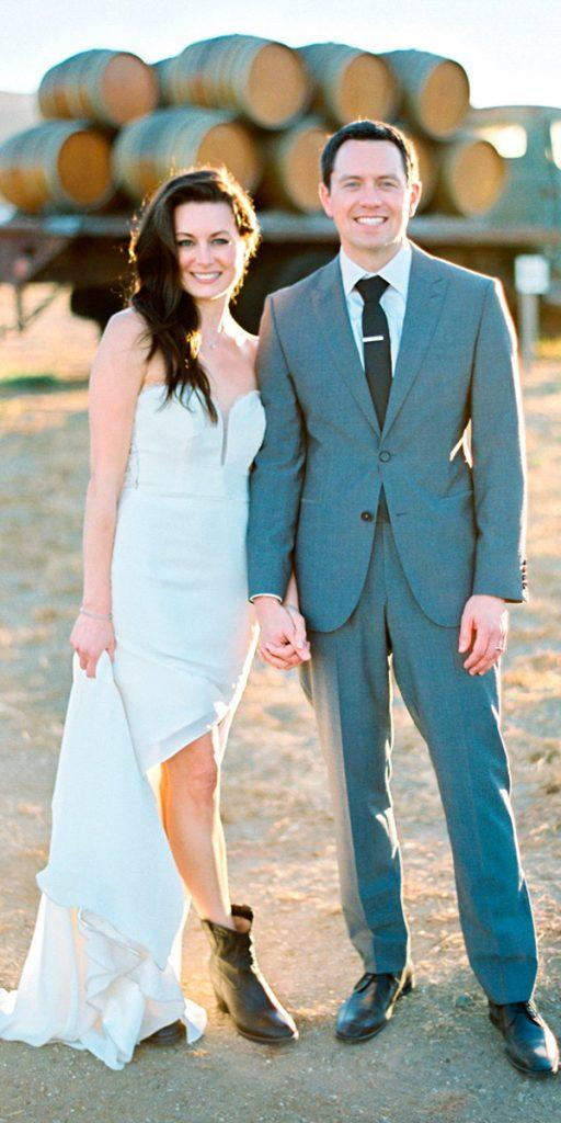 rustic wedding dresses with boots sheath strapless sweetheart neck with slit michael anna costa