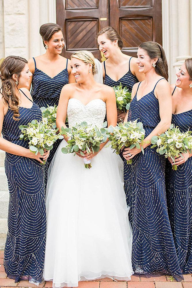 sequin bridesmaid dresses sheath with spaghetti straps navy hope taylor photography