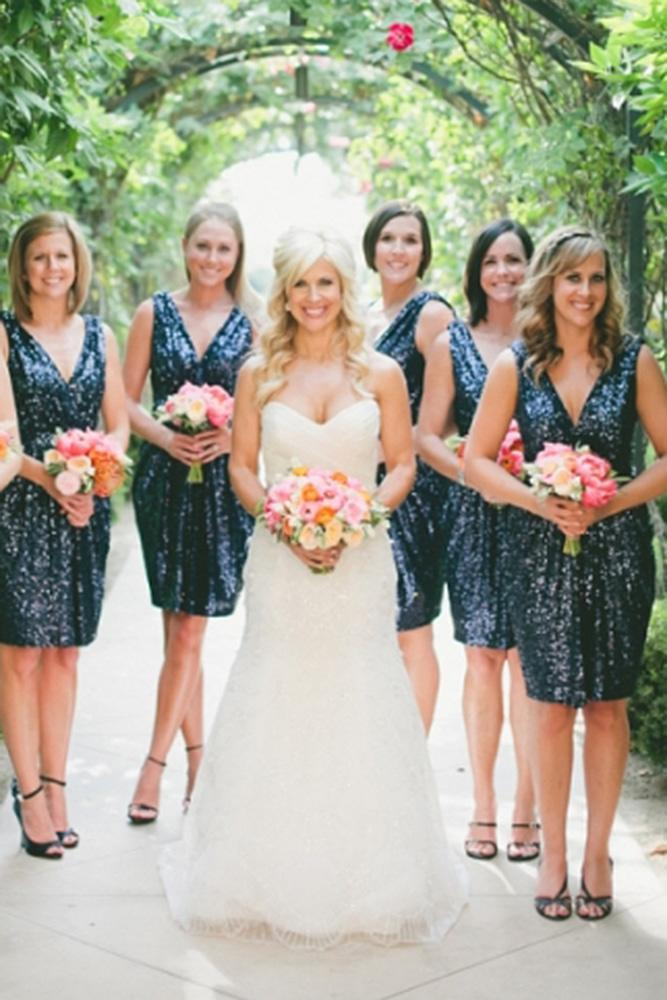 sequin bridesmaid v navy short one love photography