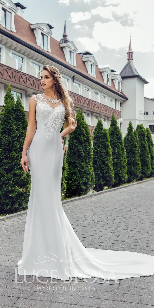 sheath illusion sweetheart neckline sleeveless luce sposa wedding dresses 2018