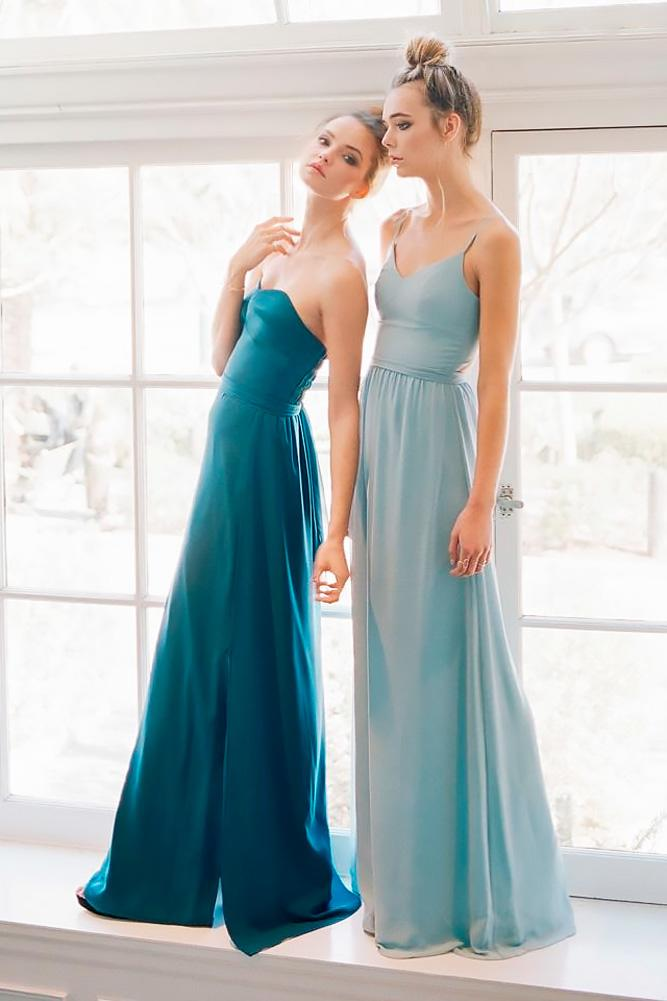 straight sweetheart with straps pastel teal bridesmaid dresses joanna august